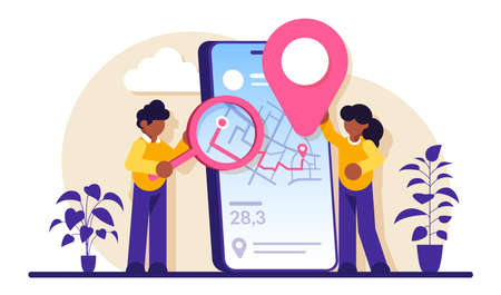 Mobile tracking software concept. Smartphone application. Gps tracking. Online order tracking, shipment and delivery. Online cargo tracking delivery. Modern flat illustration. Stockfoto