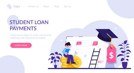Student loan payment concept. Student loans, investment in knowledge. Education banking business. Economical system to get money for college or university. Modern flat illustration. Stock Illustratie