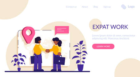 Expat work concept. Human resources agency for migrants. Effective migrant workers, expatriate programme, outside country employment. Modern flat illustration.