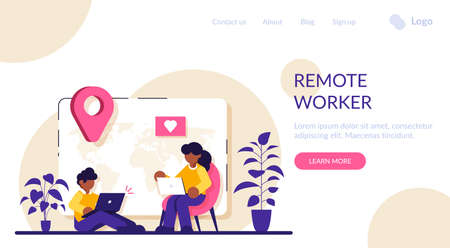 Remote freelance worker concept. Distance job. Man freelancer sitting in working distant on laptop. Woman sitting in comfortable armchair. Creative employee character work at home. Modern flat. Stock Illustratie