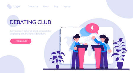 Debating club concept. Discussion of important cases. Man vs woman idea. Feminism idea. People political debate. Modern flat illustration. Stock Illustratie