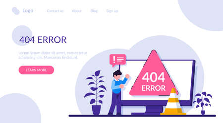 404 error page concept. Website page interface. UI, landing page, web design. Modern flat illustration.