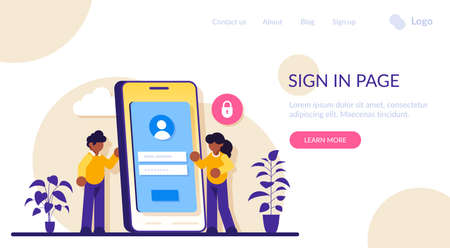 Sign in page interface concept. User login form, UI, new account registration. Protection information. Modern flat illustration. Stock Illustratie
