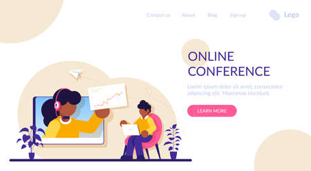 Online business conference concept. Webinar and employees training. Distance education, video tutorial. Meeting and negotiations, partners. Modern flat illustration.