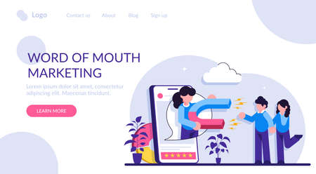 Word of mouth marketing concept. Customer oriented marketing strategy. Relationship marketing, referral program, recommendation, brand loyalty, social media. Modern flat illustration.