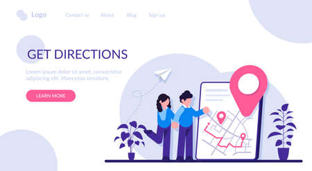 Get directions concept. Banner with the received direction. Concept of getting a route to reach your destination. Modern flat illustration.