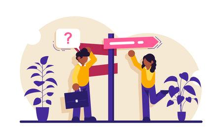 Decision making flat concept vector. Rational approach, business management. Problem solving skill, leadership, decision-making framework, tree analysis. Modern illustration.