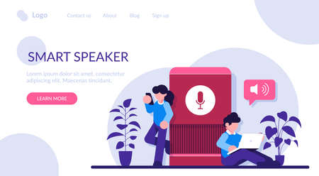 User with voice controlled smart speaker or voice assistant. Voice activated digital assistants, home automation hub, internet of things concept. Modern flat illustration.