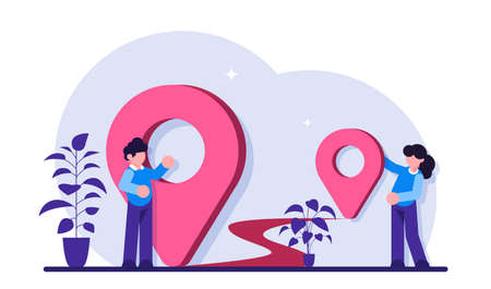 Location, GPS navigation modern concept illustration. Transportation delivery, map location, transport logistic, tourism navigate, route path. GPS point navigation, travel way, find trip, geo.