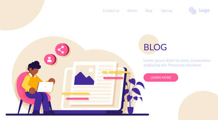 Blog flat concept vector. Social media platform, influencer, personal brand promotion. recent stories and post, attract followers and subscriptions, viral content. Modern illustration. Vecteurs