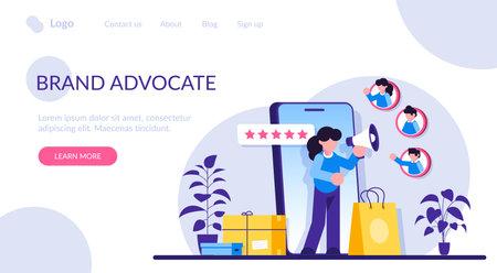 Brand advocate flat concept vector. Trademark advocacy strategy, positive image creation, social media comments. Brand attorney, digital marketing, internet. Modern illustration. Vektorové ilustrace