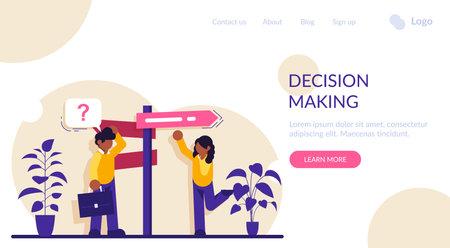 Decision making flat concept vector. Rational approach, business management. Problem solving skill, leadership, decision-making framework, tree analysis. Modern illustration. Vecteurs
