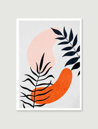 Contemporary art posters in pastel colors. Botanical wall art vector. Minimal and natural wall art. Abstract Plant Art design for print, wallpaper, cover. Modern vector illustration.