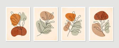 Botanical wall art vector set. Minimal and natural wall art. Boho foliage line art drawing with abstract shape. Abstract Plant Art design for print, wallpaper, cover. Modern vector illustration. Vector Illustration