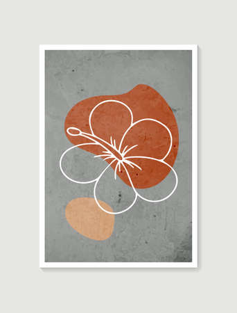 Contemporary art posters in pastel colors. Botanical wall art vector. Minimal and natural wall art. Abstract Plant Art design for print, wallpaper, cover. Modern vector illustration. Illusztráció