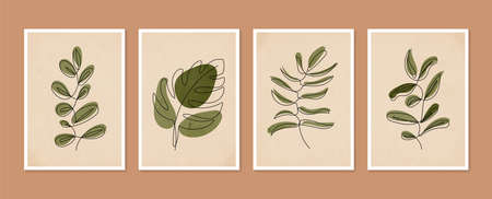 Collection of contemporary art posters. Botanical wall art vector set. Minimal and natural wall art. Abstract Plant Art design for print, wallpaper, cover. Modern vector illustration.