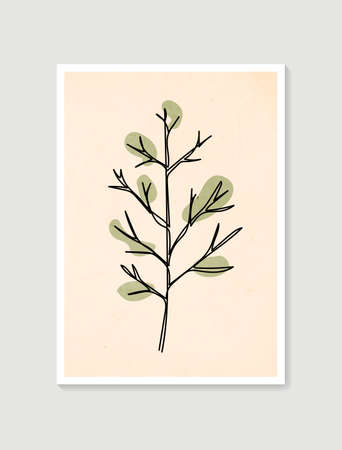 Contemporary one line art posters in pastel colors. Botanical wall art vector. Minimal and natural wall art. Abstract Plant Art design for print, wallpaper, cover. Modern vector illustration. 向量圖像