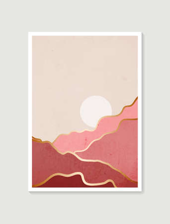 Modern minimalist art print. Abstract mountain contemporary aesthetic backgrounds landscapes. Arts design for wall framed prints, poster, cover, home decor, canvas prints, wallpaper.