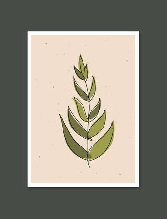 Botanical wall art vector. Minimal and natural wall art. Boho foliage line art drawing with abstract shape. Abstract Plant Art design for print, wallpaper, cover. Modern vector illustration.