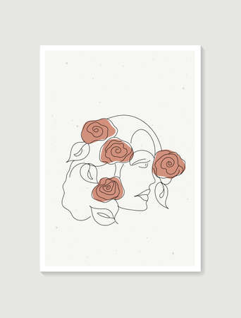 Line woman portrait of abstract aesthetic minimalist hand drawn contemporary posters. Abstract Art design for print, wallpaper, cover. Modern vector illustration. 矢量图像