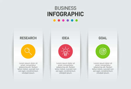 Concept of arrow business model with 3 successive steps. Three colorful graphic elements. Timeline design for brochure, presentation. Infographic design layout. Ilustracja