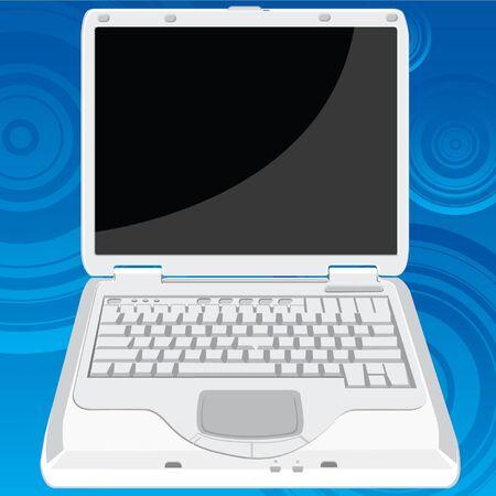 laptop screen: La perspectiva delantera de una computadora port�til que puede ser uso en cualquier prop�sito. La pantalla de la computadora port�til puede substituir por la otra imagen. Vectores