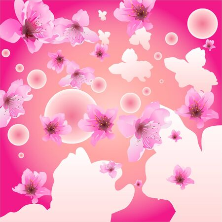 descriptive: Plum flower are falling down from colorful sky.