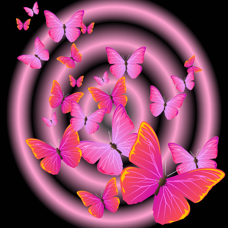 A lot of purple and pink butterfly are flying out from a dark hole.
