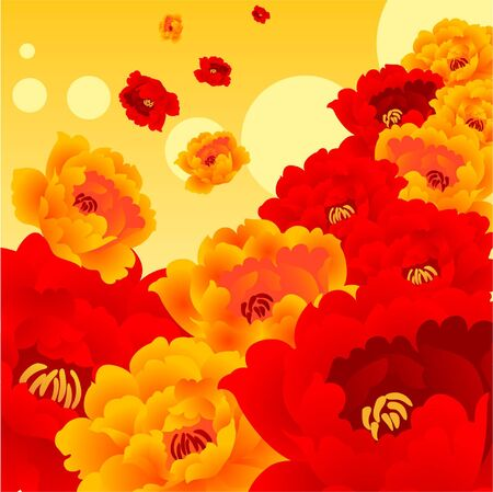 saturated: Colorful red and orange flower are so shining and attracting people. Illustration