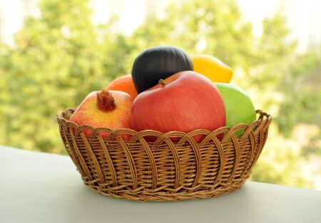 nutriment: Fruit in the basket Stock Photo