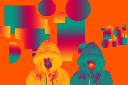 girl chewing gum. art. two colors, aqua, orange. lava color background Stock Photo