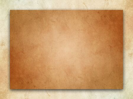A dark brown parchment texture over a beige stone background.