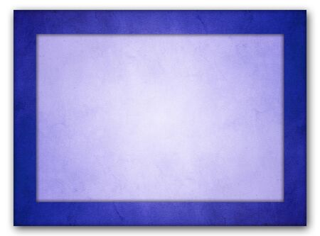 An isolated picture frame with an rich blue grunge texture frame and a light blue interior texture with glowing center.