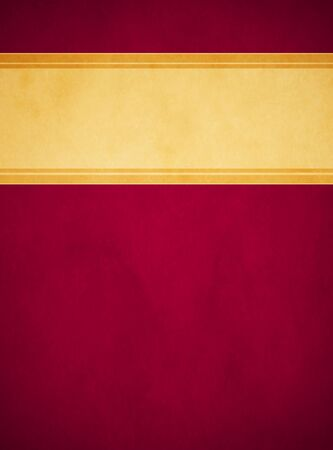 A rich red parchment texture background with a textured gold banner having rich gold striped trim in portrait orientation. Stock Photo