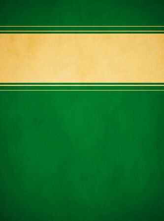 A rich green parchment texture background with a textured gold banner having green and gold striped trim in portrait orientation.
