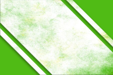 A diagonal, green and yellow splattered watercolor banner above a green abstract corner design on opposite corners. Imagens