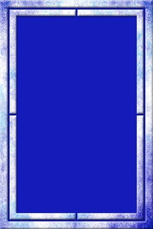 Blue and turquoise splattered watercolor frame with a modern 3D design over a blue background in portrait orientation. Reklamní fotografie