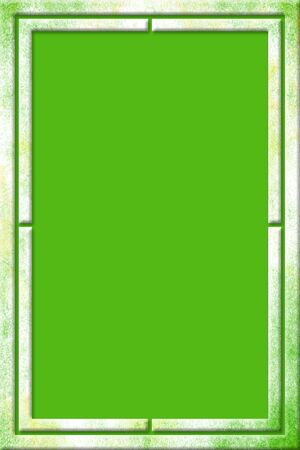 Green and yellow splattered watercolor frame with a modern 3D design over a green background in portrait orientation. Banque d'images - 150204672