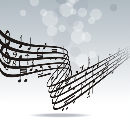 piano key: Abstract musical lines with notes. Vector illustration