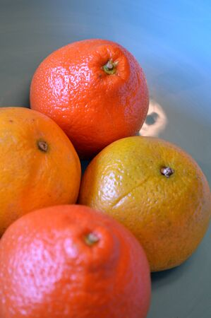 valencia orange: Valencia oranges and tangelos in a turquoise blue bowl