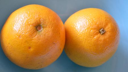 valencia orange: CLoseup of 2 valencia oranges in a blue bowl