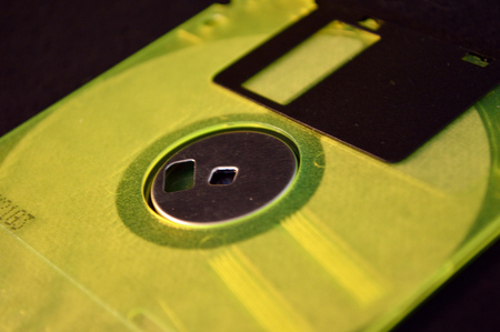 the outdated: Panoramic of colorful, but outdated, floppy disks. High contrast.