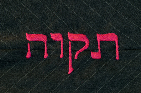 tabernacles: Hebrew word tikvah (meaning hope in english) satin stitched in hot pink against a charcoal gray, pinstripe background.