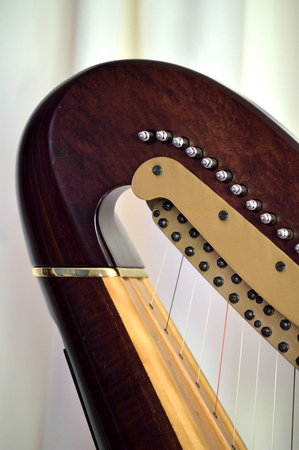 pedal: Closeup of the neck and mechanisms of a concert grand pedal harp Stock Photo