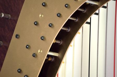 mechanisms: Closeup of the mechanisms of a concert grand pedal harp