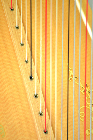 soundboard: Closeup of the strings and soundboard of a concert grand pedal harp Stock Photo