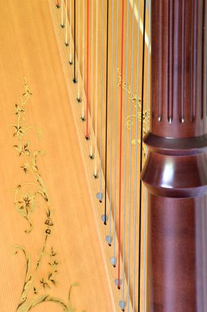 soundboard: Closeup of pedal harp column strings and soundboard.