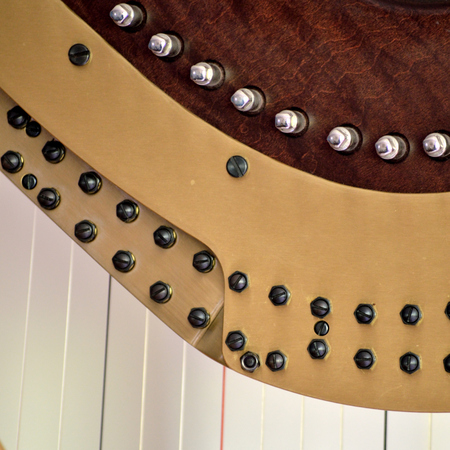 pedal: Closeup of the mechanisms of a concert grand pedal harp