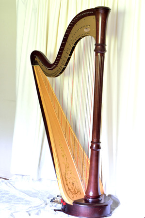 pedal: Dark wood concert grand pedal harp against wide curtains Stock Photo