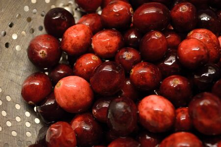 Bright red cranberries in a metal colander being washed and prepared to cook with.